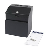 Suggestion Box, w/Lock, 4-3/4- Slot, 7-1/8-x6-x8-1/2-, Black