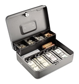 Tiered Cash Box with Bill Weights, 12 in, Cam Key Lock, Charcoal