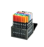 Tombow Dual Brush Pen Set, Professional Marker Desk Set with Stand, 96 Piece (56149)