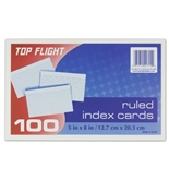 Top Flight Index Cards, Ruled, 5 x 8 Inches, White, 100 Cards per Pack (4004033)