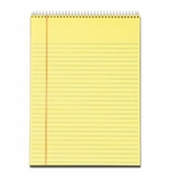 Tops Docket Wirebound Ruled Pad with Cover, Legal Rule, Letter, Canary, 70 Sheets per Pad (63621)