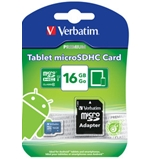 Verbatim 16GB Tablet microSDHC Memory Card, UHS-1 Class 10 Blue,Minimum Qty. 20 -44043