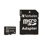 Verbatim 32GB Premium MicroSDHC Memory Card with Adapter, Class 10,Minimum Qty. 20 -44083