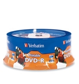 Verbatim DVD-R 4.7GB 16X White Inkjet Printable, Hub Printable - 25pk Spindle, Pack of 25, Minimum Qty. 6 - 96191