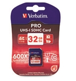 Verbatim 32GB 600X Pro SDHC Memory Card, UHS-1 Class 10,Minimum Qty. 4 -98047
