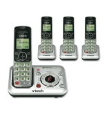 VTech CS6429-4 DECT 6.0 Cordless Phone, Silver/Black, 4 Handsets