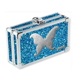 Vaultz Locking Supply Box, Blue Bling Butterfly - VZ03604