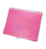 Wilson Jones View-Tab Transparent Dividers, 5-Tab Set, Pink Poly Tabs (W61005)