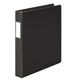 "Wilson Jones 384 Line Heavy-Duty Locking D-Ring Binder, With Label Holder, 1"", Black"