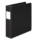 "Wilson Jones 384 Line Heavy-Duty Locking D-Ring Binder, With Label Holder, 2"", Black"