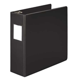 "Wilson Jones 384 Line Heavy-Duty Locking D-Ring Binder, With Label Holder, 3"", Black"