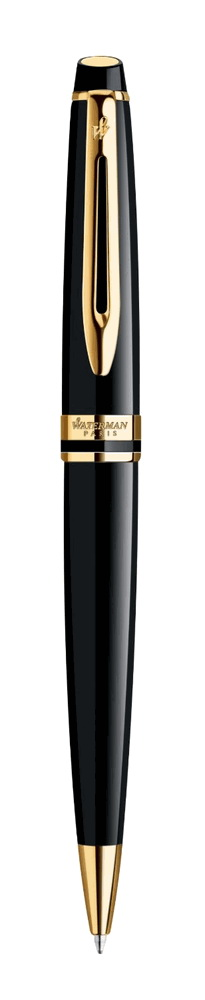 Waterman Expert Black with Gold Trim Medium Point Ballpoint Pen S0951700