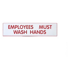 Garvey Engraved Style Plastic Signs 098002 Employees Must Wash - White and Red