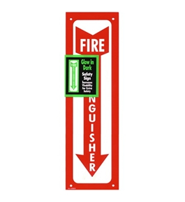 Garvey Printed Plastic Sign 098063 Fire Extinguisher Glow In the Dark