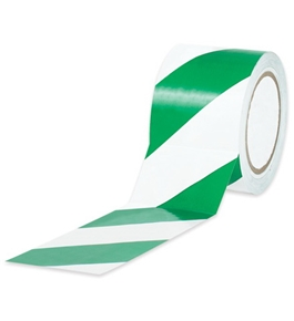 "1"" x 36 yds. Green/White Striped Vinyl Safety Tape (48 Per Case)"