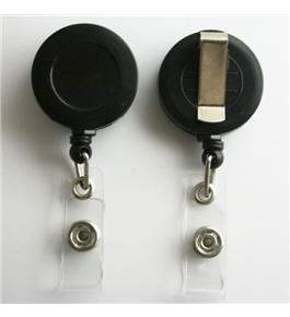 10 Retractable Reel ID Badge Key Card Name Tag Holders with Belt Clip - Choose 1 of 10 Colors (Black)