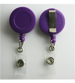10 Retractable Reel ID Badge Key Card Name Tag Holders with Belt Clip - Choose 1 of 10 Colors (Purple)