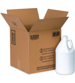 "12 1/16"" x 12 1/16"" x 12 3/4"" 4 - 1 Gallon Plastic Jug Haz Mat Boxes (20 Each Per Bundle)"