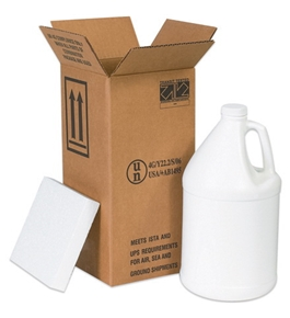 "12 1/16"" x 12 1/16"" x 12 3/4"" 4 - 1 Gallon Plastic Jug Shipper Kit (1 Each)"