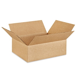 "12"" x 10"" x 4"" Flat Corrugated Boxes (Bundle of 25)"