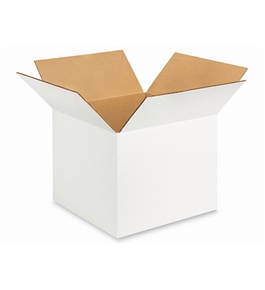 "12"" x 12"" x 10"" White Corrugated Boxes (Bundle of 25)"