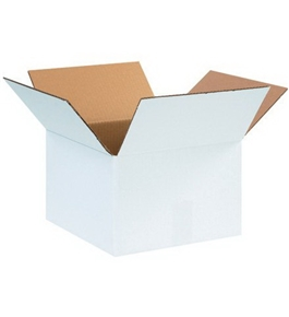"12"" x 12"" x 8"" White Corrugated Boxes (Bundle of 25)"