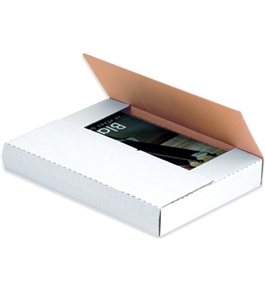 "14 1/8"" x 8 5/8"" x 1"" White Easy-Fold Mailers (50 Each Per Bundle)"