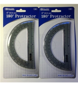 "2 in Lot Bazic 6"" 180 Degree Protractor with Beveled Edges New in Package"