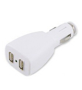 2 Port USB Car Cigarette Lighter Adapter Dual Plug for iPod MP3 Players Charger - Color White