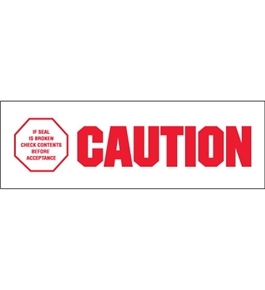 "2"" x 110 yds. - ""Caution - If Seal Is Broken..."" Pre-Printed Carton Sealing Tape (36 Per Case)"