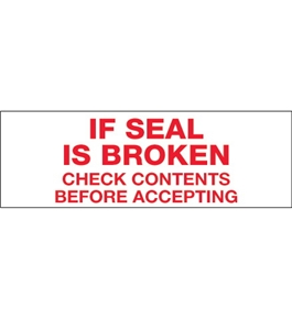 "2"" x 110 yds. - ""If Seal Is Broken..."" Tape Logic™ Pre-Printed Carton Sealing Tape (36 Per Case)"