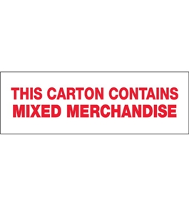 "2"" x 110 yds. - ""Mixed Merchandise"" (6 Pack) Pre-Printed Carton Sealing Tape (6 Per Case)"
