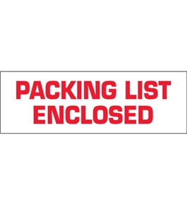 "2"" x 110 yds. - ""Packing List Enclosed"" (18 Pack) Pre-Printed Carton Sealing Tape (18 Per Case)"