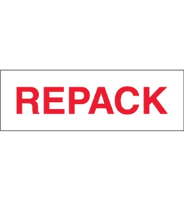 "2"" x 110 yds. - ""Repack"" (18 Pack) Pre-Printed Carton Sealing Tape (18 Per Case)"