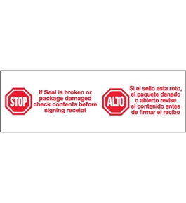 "2"" x 110 yds. - ""Stop / Alto"" (6 Pack) Pre-Printed Carton Sealing Tape (6 Per Case)"