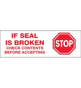 "2"" x 55 yds. - ""Stop If Seal Is Broken...""(18 Pack) Tape Logic™ Pre-Printed Carton Sealing Tape (18 Per Case)"