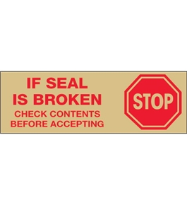 "2"" x 55 yds. - ""Stop If Seal Is Broken..."" Tan (18 Pack) Tape Logic™ Pre-Printed Carton Sealing Tape (18 Per Case)"