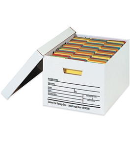 "24"" x 12"" x 10"" Auto-Lock Bottom File Storage Boxes (12 Each Per Case)"