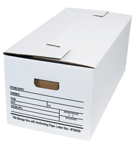 "24"" x 12"" x 10"" Interlocking Flap File Storage Boxes (12 Each Per Case)"