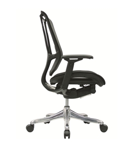 Nefil 4100FMBLK Office Chair in Black Mesh Back and Black Fabric Seat with Black Frame
