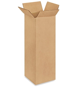 "4"" x 4"" x 12"" Tall Corrugated Boxes (Bundle of 25)"