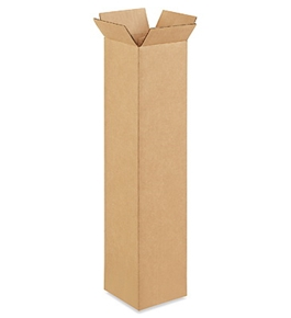 "4"" x 4"" x 20"" Tall Corrugated Boxes (Bundle of 25)"