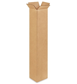 "4"" x 4"" x 24"" Tall Corrugated Boxes (Bundle of 25)"
