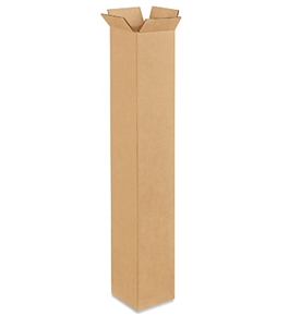 "4"" x 4"" x 28"" Tall Corrugated Boxes (Bundle of 25)"