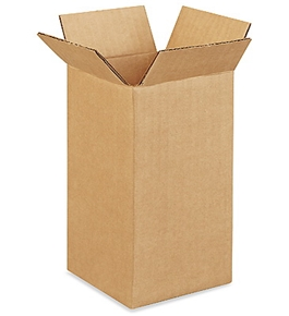 "4"" x 4"" x 8"" Tall Corrugated Boxes (Bundle of 25)"