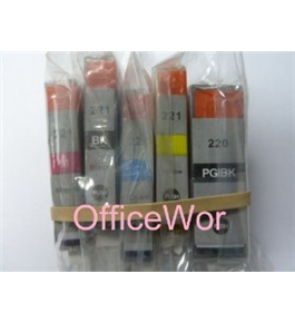 5 Pack Non-OEM Ink Combo for PGI-220 CLI-221 Canon Pixma iP3600 iP4600 iP4700 MP560 MP620 MP640 MX860 MP980 MP990-1BK/1BK/1C/1M/1Y