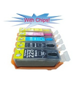 5 Pack US Patent Canon PGI-225 BK CLI-226 BK C M Y compatible ink cartridges (With CHIPS Now!) for Canon PIXMA iX6520,iP4820, MG5120, MG5220, MG8120, MG6120 printers