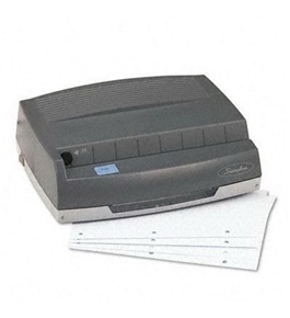 50-Sheet 350MD Electric Three Hole Punch, 1/4 Holes, Gray