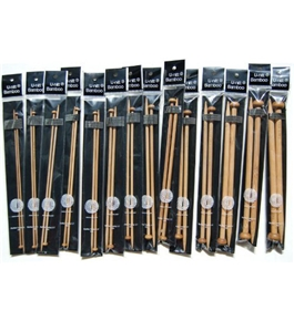 "9"" SPN U-nitt Bamboo Knitting Needles Single Point / straight 14-pack patina"