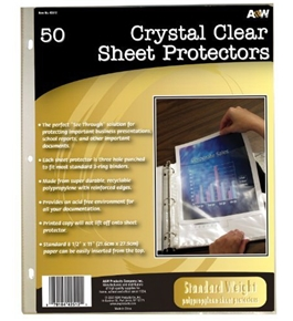 A&W Products Crystal Clear Sheet Protectors, Standard Weight, 50-Count (42512)